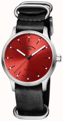 Muhle Glashutte Bracelet cuir noir rouge Panova M1-40-78-LB