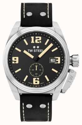 TW Steel Bracelet cantine homme en cuir noir TW1001