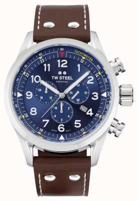 TW Steel Bracelet cuir marron suisse volante cadran bleu SVS201