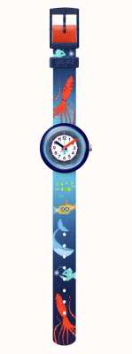 Flik Flak Mer la vie   sangle pour animaux de compagnie recyclée bleue   cadran blanc FPNP086
