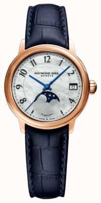 Raymond Weil Femmes | maestro | automatique | phase de lune | cadran en nacre | bracelet en cuir bleu 2139-P53-05909