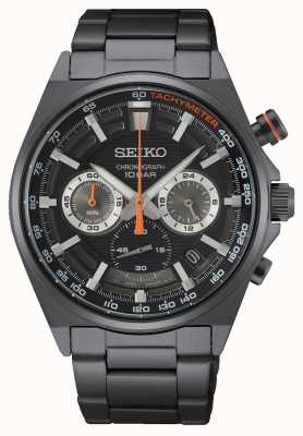 Seiko Bracelet chronographe en acier inoxydable noir SSB399P1