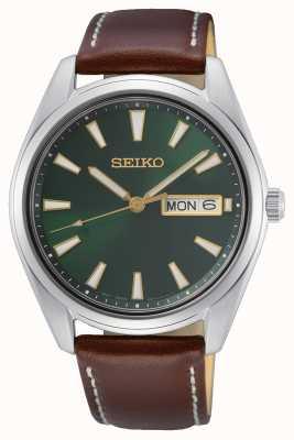Seiko Montre cadran vert bracelet cuir marron SUR449P1