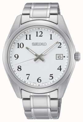 Seiko Montre bracelet en acier inoxydable 40,2 mm cadran blanc SUR459P1