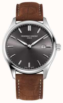 Frederique Constant Quartz classiques | bracelet en cuir marron | cadran gris FC-220DGS5B6