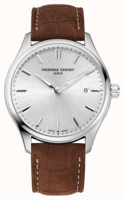 Frederique Constant Quartz classiques | bracelet en cuir marron | cadran argenté FC-220SS5B6
