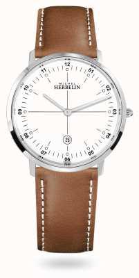 Michel Herbelin City quartz bracelet cuir marron cadran blanc 19515/12GON