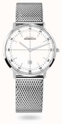 Michel Herbelin Bracelet en maille milanaise City en acier inoxydable cadran blanc 19515/12B