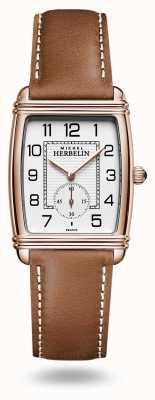 Michel Herbelin Art déco | cadran argenté | bracelet en cuir marron 10638/PR22GO