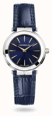 Michel Herbelin Montre Newport pour femme avec bracelet en cuir bleu et cadran bleu 16922/T15BL