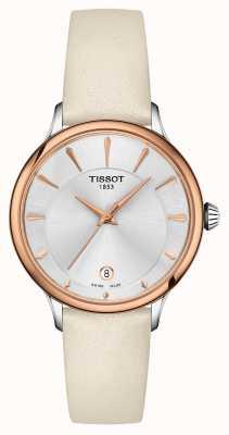 Tissot Bracelet en cuir crème cadran argenté Odaci-t sectionné T1332102603100
