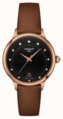 Tissot Cadran Odaci-t serti de diamants noirs T1332103605600