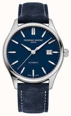 Frederique Constant Bracelet cuir bleu 40 mm index classique automatique FC-303NN5B6