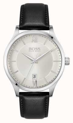 BOSS | affaires d'élite | bracelet en cuir noir | cadran de date argenté | 1513893