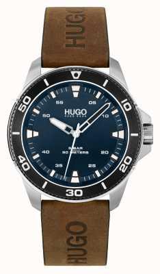 HUGO # streetdiver occasionnel | cadran bleu | bracelet en cuir marron 1530220