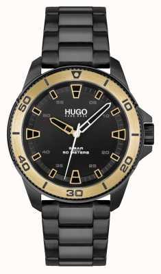 HUGO # streetdiver occasionnel | cadran noir | bracelet en acier pvd noir 1530225