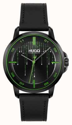 HUGO #focus matrice occasionnel | cadran noir | bracelet en cuir noir 1530205