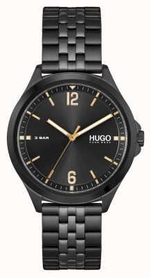 HUGO affaires de #costume | cadran noir | bracelet en acier pvd noir 1530218