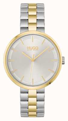 HUGO #écraser | cadran argenté | bracelet en acier bicolore 1540101