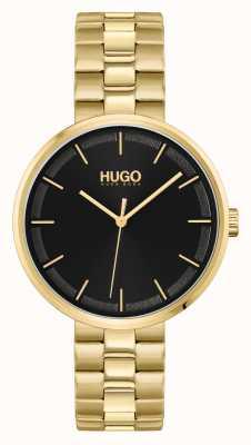 HUGO #écraser | cadran noir | bracelet en acier pvd or 1540102