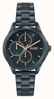 HUGO #intrépide multi-décontracté | cadran bleu | bracelet en acier ip bleu 1540098