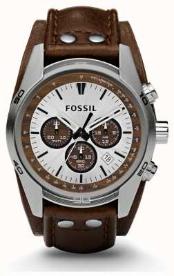 Fossil Gents chronographe de sport en cuir marron bracelet de montre CH2565