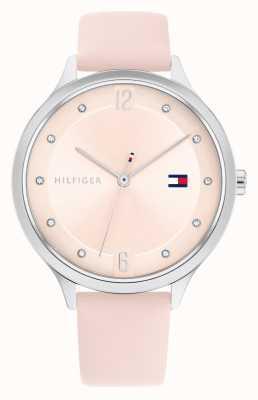 Tommy Hilfiger Bracelet en cuir rose Grace cadran argenté 1782429