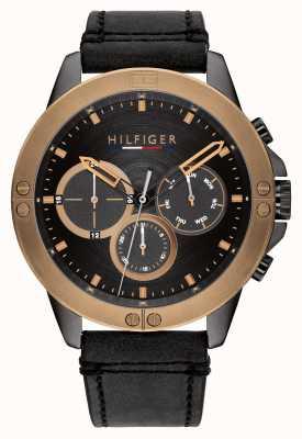 Tommy Hilfiger Bracelet en cuir noir Harley cadran noir 1791893