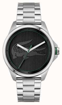 Lacoste Le croc cadran noir bracelet en acier inoxydable 2011131