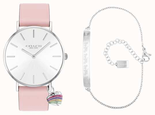 Coach Coffret cadeau Perry montre bracelet cuir rose 14000074