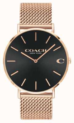 Coach Cadran soleillé noir pour homme Charles maille or rose 14602552