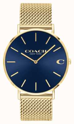 Coach Cadran bleu soleil pour homme Charles maille dorée 14602551