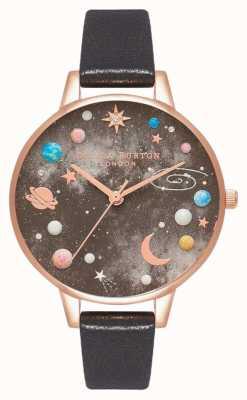 Olivia Burton Cadran planète céleste bracelet en cuir noir OB16GD83