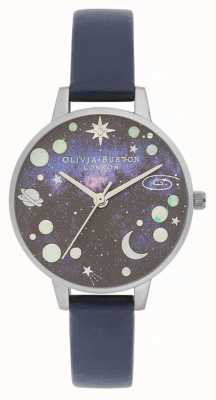 Olivia Burton Bracelet en cuir bleu planète céleste OB16GD82