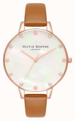 Olivia Burton Montre Demi cadran en nacre beige et or rose OB16SE18