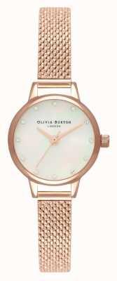 Olivia Burton Mini cadran en nacre blanche, marqueurs scintillants et maille bouclée en or rose OB16MN05