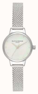 Olivia Burton Mini cadran en nacre blanche, marqueurs scintillants et montre en maille bouclée argentée OB16MN04