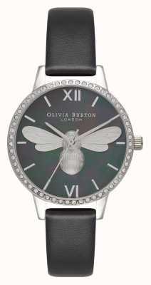 Olivia Burton Montre Lucky bee midi à cadran scintillant noir et argent OB16BB13