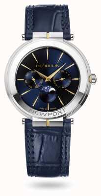 Michel Herbelin Montre bracelet en cuir Newport slim phase de lune 12722/T15BL
