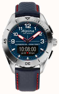 Alpina   alpinerx   montre connectée   bracelet en cuir bleu   AL-284LNNR5SSAQ6L