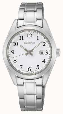 Seiko Bracelet femme cadran blanc en acier inoxydable SUR465P1