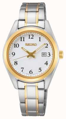 Seiko Bracelet femme cadran blanc or jaune acier inoxydable SUR466P1