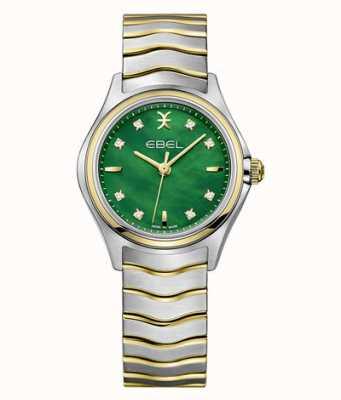 EBEL Nacre verte sertie de diamants bicolores femme Wave 1216440