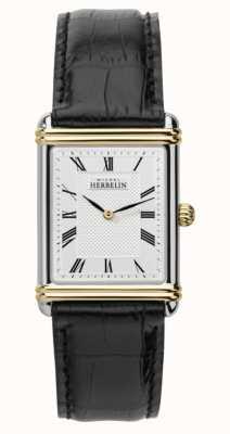 Michel Herbelin Bracelet en cuir noir art déco pour homme 17468/T08