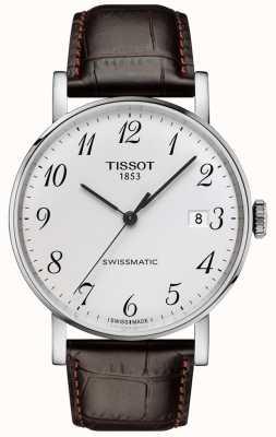 Tissot | hommes | à chaque fois swissmatic | automatique | bracelet en cuir marron | T1094071603200