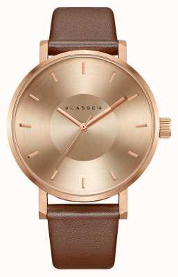 Klasse14 Bracelet en cuir marron doré rose Volare 42 mm VO14RG002M