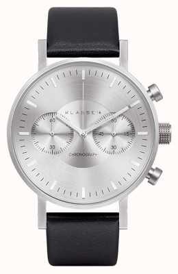 Klasse14 Chronographe cadran argent bracelet cuir noir VO15CH001M