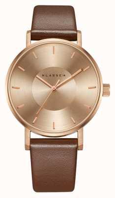 Klasse14 Bracelet en cuir marron-or rose Volare 36 mm VO14RG002W
