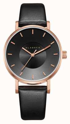 Klasse14 Bracelet en cuir noir Volare rose foncé 36 mm VO16RG005W