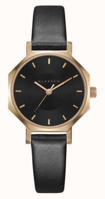 Klasse14 Bracelet en cuir noir Okto rose foncé 28 mm OK18RG005S